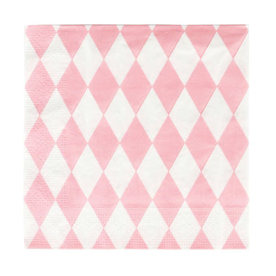 20 paper napkins with baby pink diamonds.  Perfect for a princess, fairy or angel-themed birthday party! Also great for a picnic, a wedding, a christening, or any other special occasion.  Size: 6.5