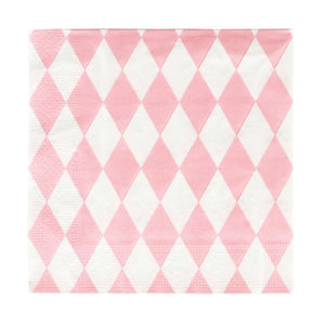 "20 paper napkins with baby pink diamonds.  Perfect for a princess, fairy or angel-themed birthday party! Also great for a picnic, a wedding, a christening, or any other special occasion.  Size: 6.5"" x 6.5""(folded). Made in France.  Please note: the napkins are only printed on one side!"