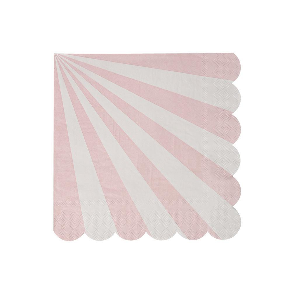 Whether you're planning a baby shower, a bridal shower or a birthday party in the sunshine, you can't go wrong with our Dusty Pink Fan collection - high quality tableware featuring delicate pink pastel stripes. Plan your whole decor around this elegant shade, or mix and match with other colours, patterns and themes.   Small  Pack of 20 Folded size: 5
