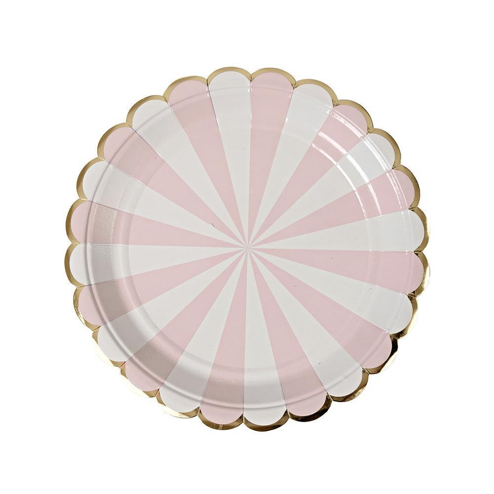 Whether you're planning a baby shower, a bridal shower or a birthday party in the sunshine, you can't go wrong with our Dusty Pink Fan collection - high quality tableware featuring delicate pink pastel stripes and beautiful gold foil. Plan your whole decor around this elegant shade, or mix and match with other colours, patterns and themes.   Small Pack of 8  Gold foil detail  Size: 7