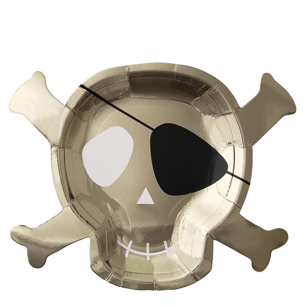 These shiny gold skull and crossbones plates, complete with swashbuckling eye patches, are just perfect for little pirates to load with party food.   Die cut Gold foil detail Pack of 8  Product Dimensions approx: 10.125 x 7.875 inches