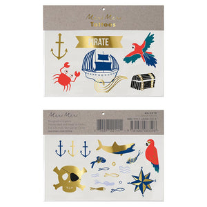 These beautifully illustrated tattoos are perfect for little pirates to decorate themselves with, or pop them into party bags as a special treat.   Temporary Gold foil detail Pack of 2