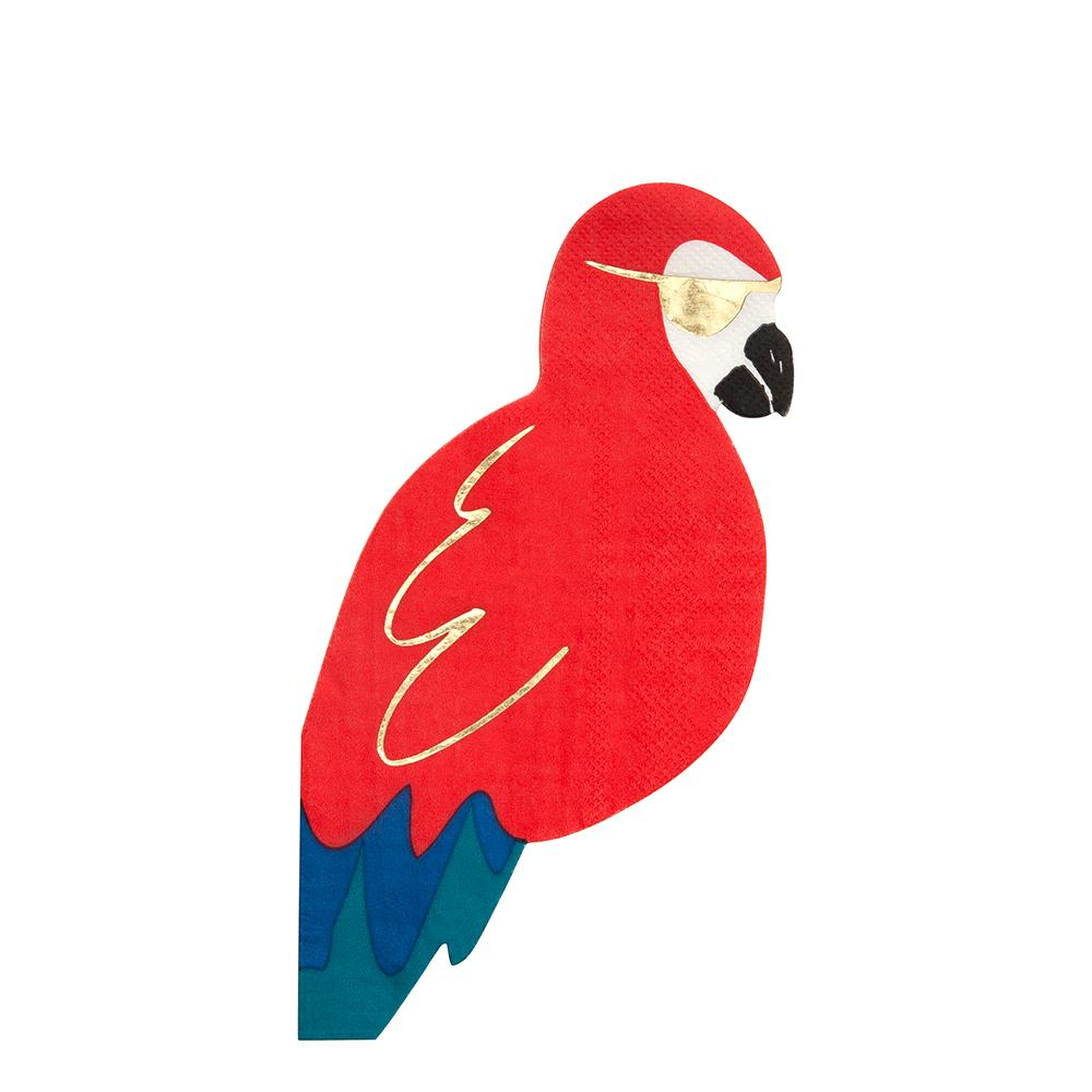 These parrot napkins will look just perfect at a pirate party. Crafted from thick ply colorful paper with gold foil detail.  Die cut Gold foil detail Pack of 16 Product dimensions: 9.5 x 4 inches