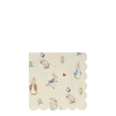 Little (and big) guests will love to use these delightful napkins. Featuring Beatrix Potter's charming Peter Rabbit and Friends, and a stylish scallop edge, they'll look fabulous at any party table.   Scallop edge Pack of 20 Folded dimensions: 5 x 5 inches