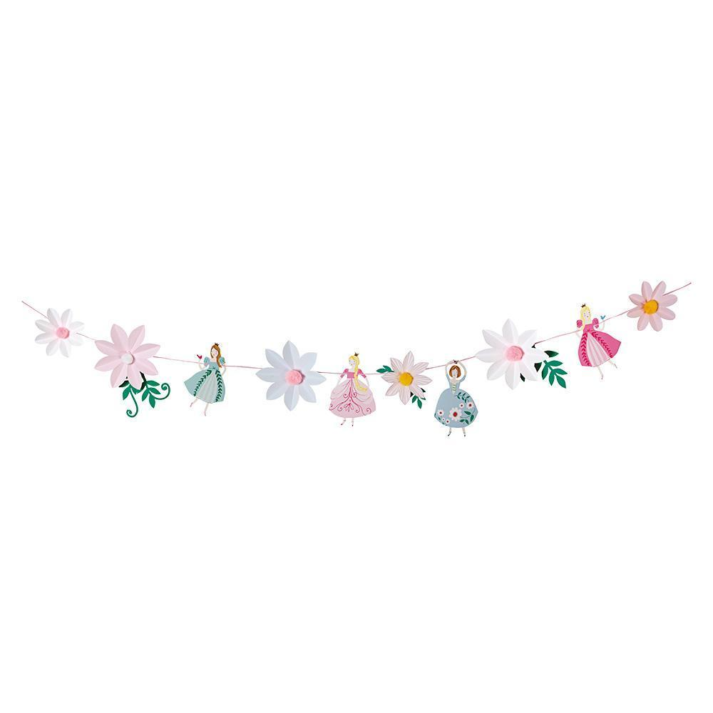 Pretty much every little girl dreams of being a princess at one point in her life, and if your daughter is a fan of tiaras, big swirling skirts and everything pink, then our I'm A Princess party collection is a must for her birthday! Add the finishing touches to a princess party with this fabulous garland. It features individual princess character pennants dressed in their finest party gowns, complemented with floral pompom pennants.  10 pennants  Pre-strung on 3.7m of pink ribbon