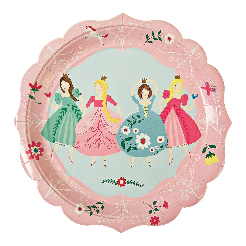 Pretty much every little girl dreams of being a princess at one point in her life, and if your daughter is a fan of tiaras, big swirling skirts and everything pink, then our I'm A Princess party collection is a must for her birthday! Four pretty princesses adorn this party plate, all wearing their best ball gowns, surrounded with delicate floral patterns and a scallop edge.   Large Pack of 12 Size: 9