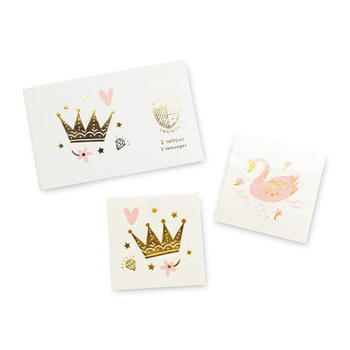 Pretty in pink! featuring blush pink paired with gold foil, these tattoos are royally rad!  illustrated by hello!lucky for daydream society package contains 2 tattoos (1 each of 2 designs) each tattoo measures 2.5 inches square safe + non-toxic packaged in a cardstock envelope