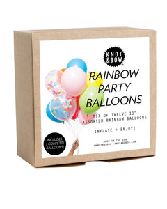"Mix of twelve 11"" assorted balloons with confetti balloons included!!! Perfect for birthday parties and more!!  • 12 latex balloons (9 solid balloons + 3 pre-filled confetti balloons) • 11"" diameter • Helium or hand pump recommended • Made in USA and assembled with ♥ in Brooklyn"