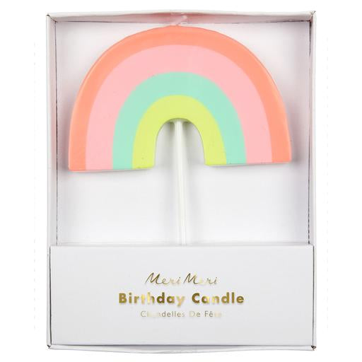 Is it really a celebration at all if no one leans over the cake and blows out the candles? Add a little extra touch of fun to your party with this delightful rainbow candle, perfect for any colorful birthday party.   Neon print detail  3
