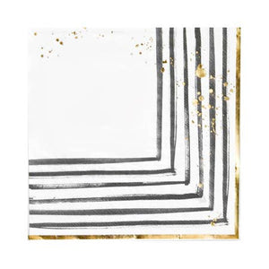 "Modern brushstrokes adorned with gold splashes, our black and white lunch napkins set a contemporary mood for showers, weddings, birthdays and elegant gatherings.  Colors: Black, white, gold foil Lunch napkins Made of paper Approx. 6.5"" folded 20 napkins / pack"