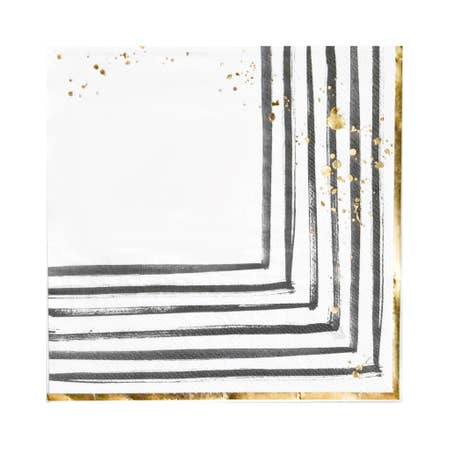 Modern brushstrokes adorned with gold splashes, our black and white lunch napkins set a contemporary mood for showers, weddings, birthdays and elegant gatherings.  Colors: Black, white, gold foil Lunch napkins Made of paper Approx. 6.5