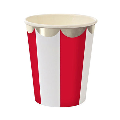 Whether you're planning a game night gathering, a kid's party or holiday drinks, you can't go wrong with our Red Fan collection - high quality tableware featuring a bold red stripe, with beautiful silver foil. Plan your whole decor around this striking shade, or mix and match with other colours, patterns and themes.   Pack of 8 Suitable for hot & cold drinks Silver foil detail Size: 8 ounces