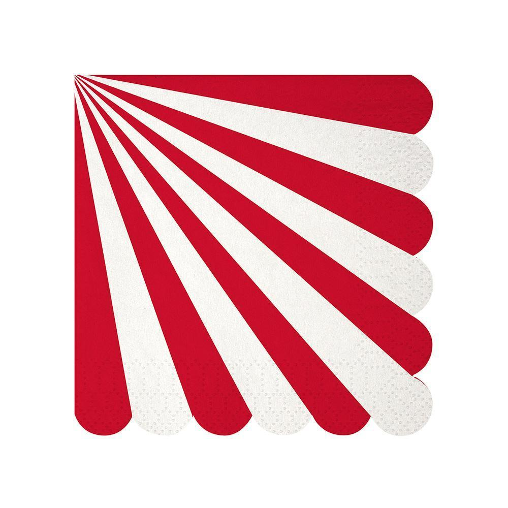 Whether you're planning a game night gathering, a kid's party or holiday drinks, you can't go wrong with our Red Fan collection - high quality tableware featuring a bold red stripe, with beautiful silver foil. Plan your whole decor around this striking shade, or mix and match with other colours, patterns and themes.   Small Pack of 20 Folded size: 5