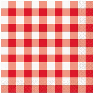"Few patterns capture the spirit of summer like red-and-white gingham. Calling to mind picnics in the park, these cocktail napkins are great for any type of outdoor entertaining.  5"" X 5"" paper napkins Pack of 25 Recyclable and compostable!"