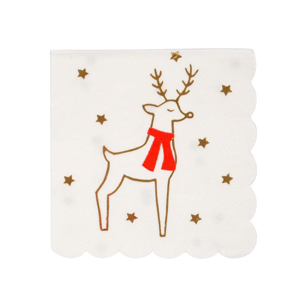 These beautifully illustrated Reindeer and Stars napkins will certainly add festive spirit to your table this Christmas.  Small Pack of 16 Neon print & gold foil detail Folded size: 5 inches