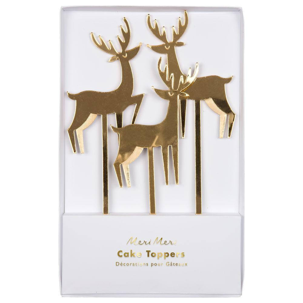These elegant gold reindeer toppers will make your festive cakes look extra stylish.  Pack of 3 Gold mirror acrylic detail
