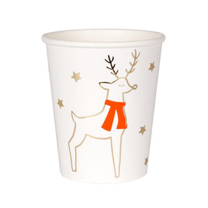 These beautifully illustrated Reindeer and Stars cups will certainly add festive spirit to your table this Christmas.  Pack of 8 Suitable for hot & cold drinks Neon print & gold foil detail Size: 8 ounces