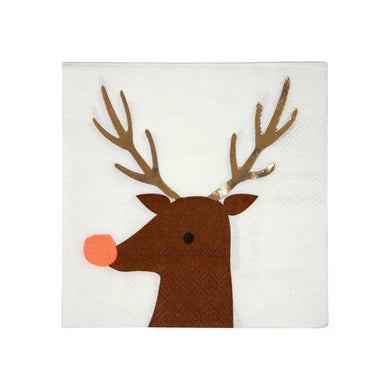 These beautiful Reindeer napkins will add a lovely festive touch to your Christmas table.   Small Pack of 16 Neon print & gold foil detail Folded size: 5 inches
