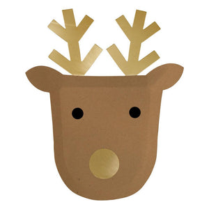 These fun Reindeer plates are a delightful way to add charm to your festive gathering.   Pack of 8 Die-cut Gold foil detail Size: 8 1/2 inches x 10 inches