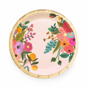 "Make any meal look festive with our floral party plates—an essential at any baby shower, engagement party, or birthday brunch.  Paper Printed in full color and foil stamped Metallic gold foil Set of 10 9"" D"