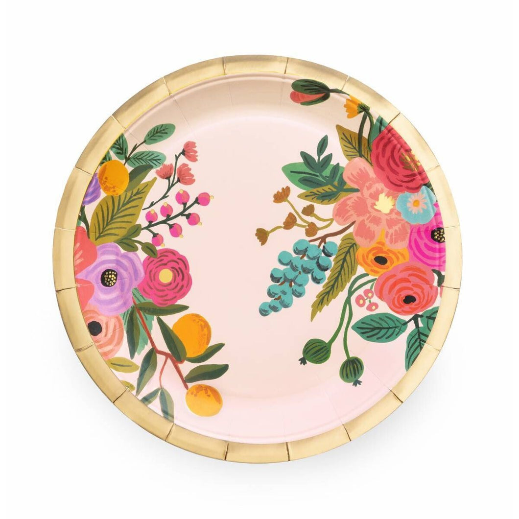 Make any meal look festive with our floral party plates—an essential at any baby shower, engagement party, or birthday brunch.  Paper Printed in full color and foil stamped Metallic gold foil Set of 10 9