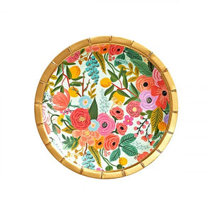 "Make any meal look festive with our floral party plates—an essential at any baby shower, engagement party, or birthday brunch.  Paper Printed in full color and foil stamped Metallic gold foil Set of 10 7"" D"