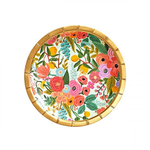 Make any meal look festive with our floral party plates—an essential at any baby shower, engagement party, or birthday brunch.  Paper Printed in full color and foil stamped Metallic gold foil Set of 10 7