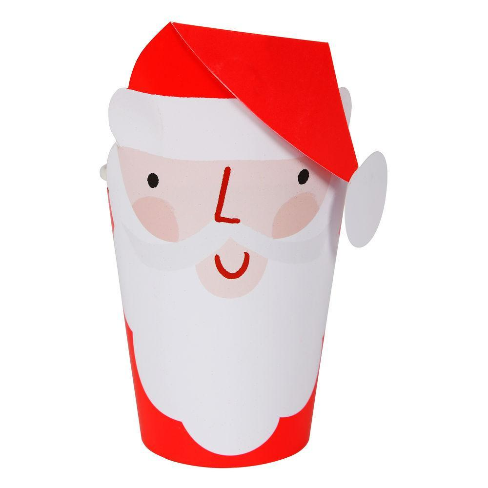 These jolly Santa cups are a really special way to serve festive drinks to your guests.   Pack of 8 with Santa sleeves Suitable for hot & cold drinks Neon print detail Size: 8 ounces
