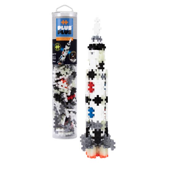 This tube contains 240 pieces and Instructions to build a Saturn V Rocket. Includes new metallic and glow-in-the-dark pieces! Collect all the Plus-Plus Apollo 11 items to recreate the entire mission. Plus-Plus is a whole new class of construction toy! One simple shape contains endless possibilities and hours of fun.  Each piece easily connects to the next and lets your imagination create colorful flat mosaics or work in 3-D to make more intricate builds.  Even curves are possible thanks to the unique design