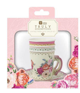 Truly tasteful, our lovely Truly Scrumptious teacups and saucers are the perfect addition to your tea time table, delighting your guests! Each pack contains 12 paper cups and saucers with a lovely vintage floral design. To create a delightful tea party!