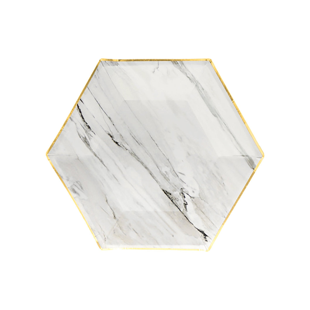 Delicate gold trimming on elegant hexagon, nothing conveys taste more than our chic marble plates.  Colors: Grey, white, black, gold foil  Paper plates Approx. 8