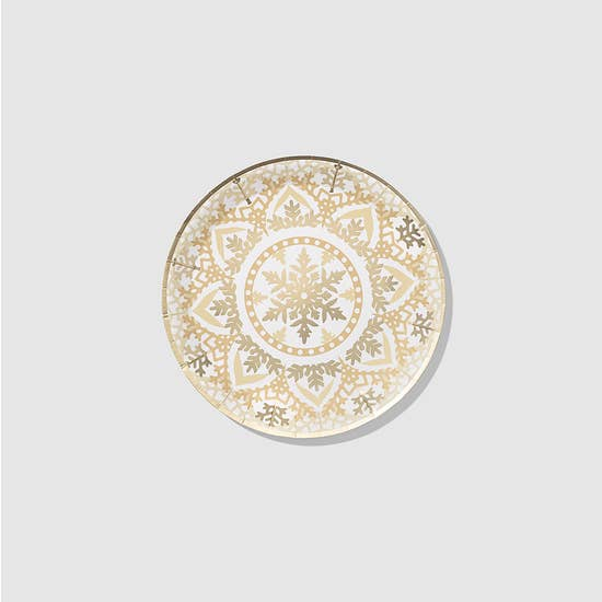 Bursting with a kaleidoscope of snowflakes, these large plates feel sophisticated without being fussy. While they feature a print of delicate snowflakes, the plates are sturdy enough that they won't wilt under the heaviest of main courses. 10 small paper plates 7