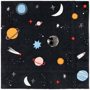 A pack of small space themed napkins for a party of little astronauts with a pattern of planets and stars, embellished with silver foil. Pack of 16. Neon print & gold foil detail.