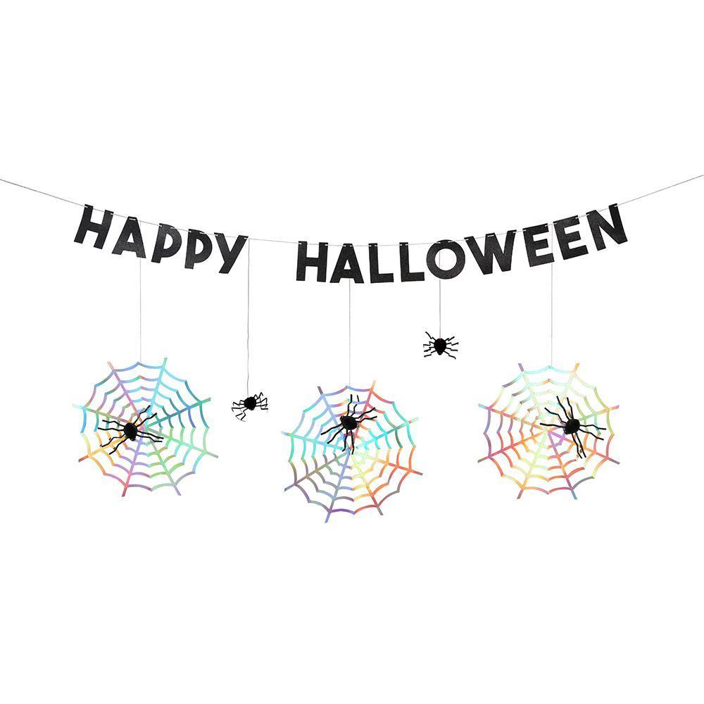 Add a spine-tingling touch to your Halloween party with this fabulously creepy spiderweb garland.  8 honeycomb spiders, 8 cobwebs & 14 letter pennants Pre-strung on 2.5m of silver cord 9m of silver thread Silver holographic foil detail 4 feet Happy Halloween garland with extra cord for hanging with 8 spiders and 8 cobwebs