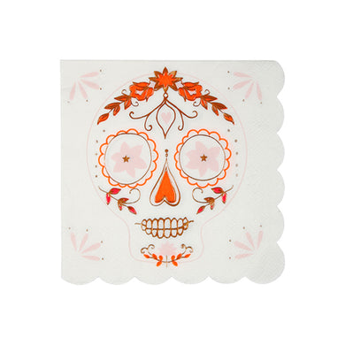 Celebrate the Day of the Dead in style, or bring a little bit of extra colour to Halloween, with our beautiful Sugar Skull collection. Small Pack of 8 Neon print & rose gold foil detail Folded size: 5