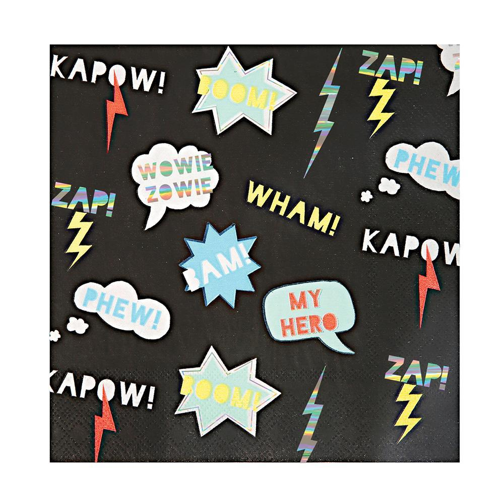 These cool paper napkins are perfect for superheroes to use. Decorated with cartoon patterns embellished with shiny holographic silver foil.   Large Pack of 16 Neon print & holographic silver detail Size: 6.5