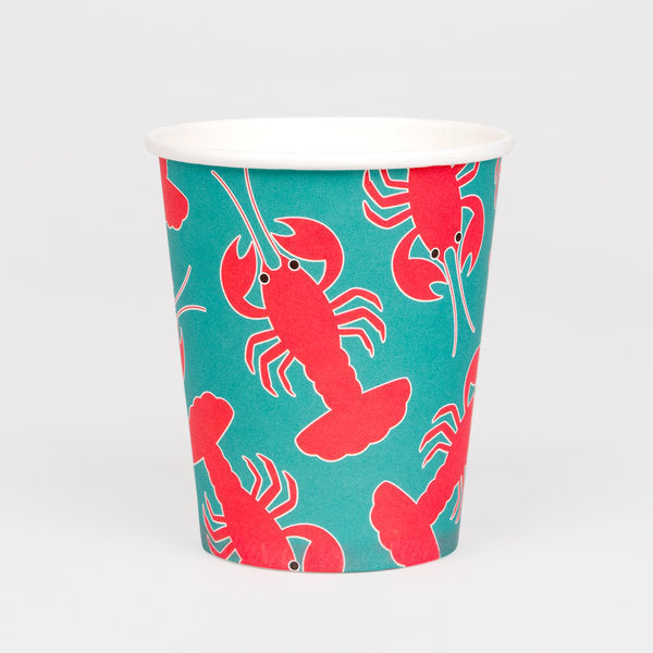 Super cute lobster cups, designed by My Little Day.  These cups are perfect for a summertime-themed birthday, a family BBQ or a garden party with friends!  Size: 8 oz.  Contains 8 cups.