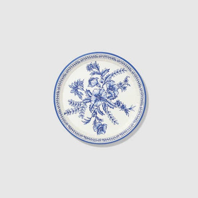 Classic and elegant, our floral toile small plates bring a touch of the French countryside to any occasion. Featuring a deep blue toile pattern, the plates are the ideal size for small bites and desserts. Includes 10 plates.  7.25