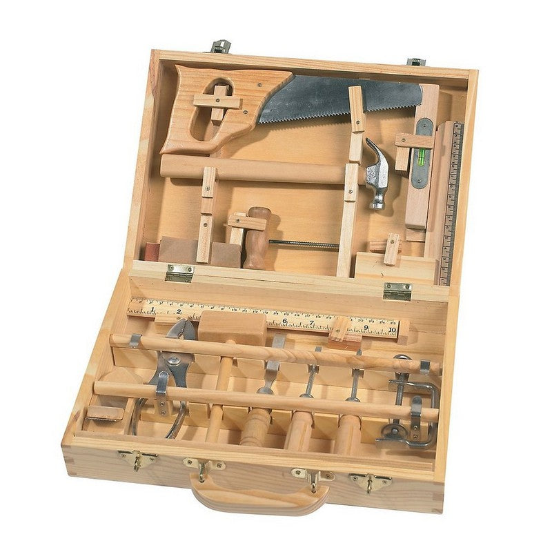 Large Tool Box Set Comes equipped with all the tools needed to work alongside a parent or that favorite grandparent that is always fixing something. Made of wood and metal, all tools are made to use on real projects but adapted to small hands. Set includes a hammer, Philips and regular screwdrivers, pliers, T-square, ruler (with metric measurements), c-clamp, sanding block, saw, chisel, and planer. To be used under adult supervision. Ages 6+. Toolbox measures 9