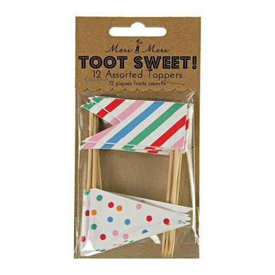A great way to provide the finishing, decorative touch to your cupcakes, these twelve flag cake toppers come in spots and stripes in range of bold and brilliant colours. Say goodbye to fiddly icing and spend all that saved time and energy enjoying your party!   Pack of 12 in 2 designs