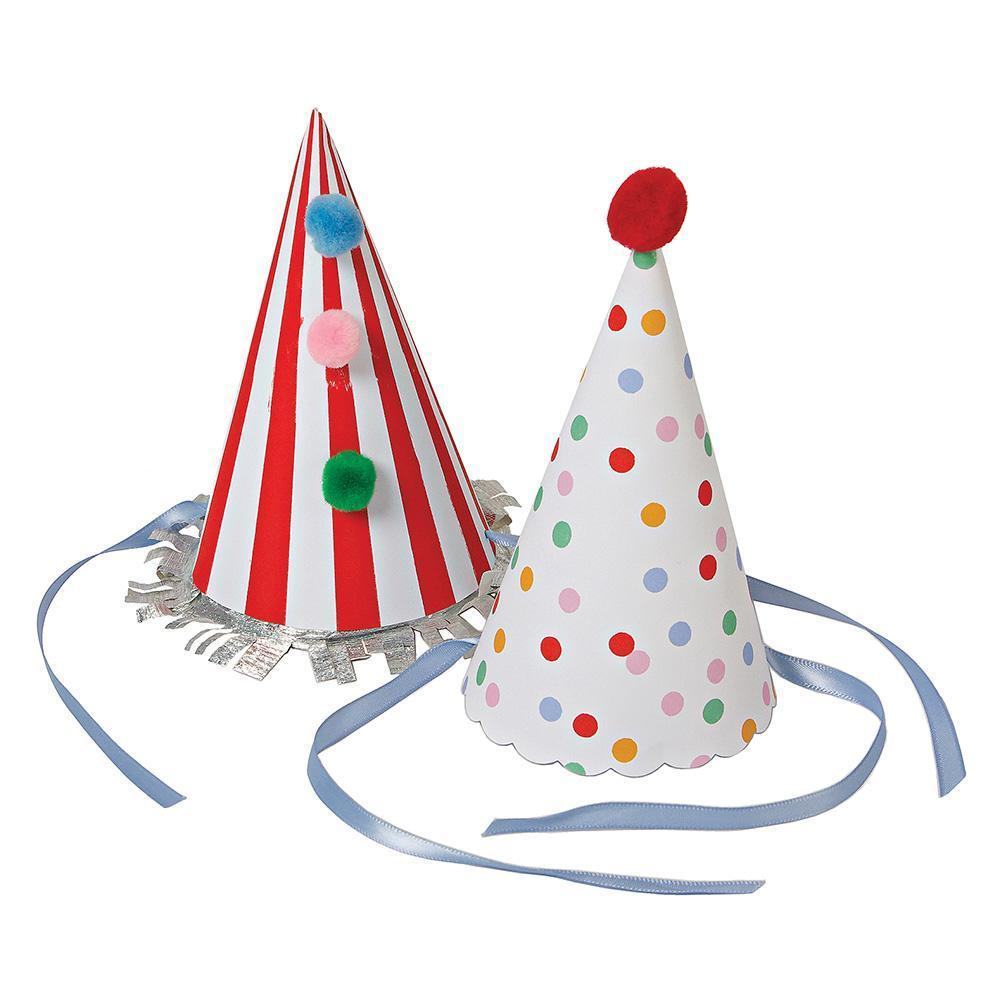 Spots and stripes are a classic for a reason - whether you're throwing a birthday party for a little person or a grownup, whether it's the height of summer or the middle of winter, you'll never go wrong with this collection! Party people big and small will be delighted with these party hats, brightly patterned with pompoms, silver trim and a ribbon tie.   Pack of 8 in 2 designs Silver foil detail