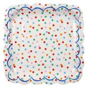"Spots and stripes are a classic for a reason - whether you're throwing a birthday party for a little person or a grownup, whether it's the height of summer or the middle of winter, you'll never go wrong with this collection! This high-quality collection of paper party tableware features spots and stripes in bold colours, adding an extra layer of fun to any occasion.   Small Pack of 12 Size: 7.5"" x 7.5"""