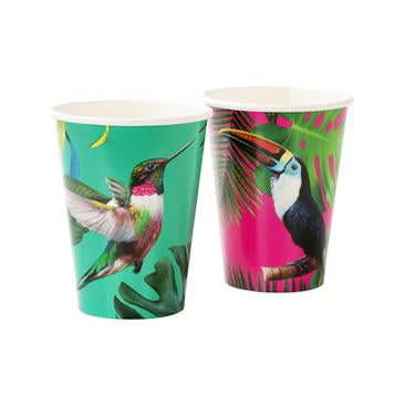 Another super cool addition to our stylish tropical fiesta collection! These cups with tropical bird and plants designs are must haves for summer parties. Each pack contains 12 cups with 2 different designs, perfect for mix & match! Volume: 12oz (330ml).