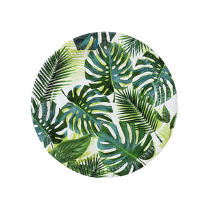 "Jungle green prints will definitely create tropical vibes! Each pack comes in 8 paper plates. Diameter: 9"" (23cm)."