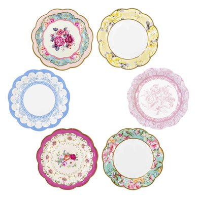 Introducing the bestselling Truly Scrumptious range, Our stunning vintage plate assortment! With everyone's favourite vintage floral designs, these packs contain 12 paper plates in 6 assorted designs and will give your afternoon tea party a quirky twist! Fill to the brim with sweet treats and tasty food.  Diameter: 18.5cm (7