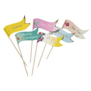 For ravishing refreshments, a pretty decoration that is useful as well. Go to town and decorate your party food, you can also pop a few food flags on the side of a serving dish and use to pick up delicate canapes.Contents: 24 Food Flags, in 8 different designs