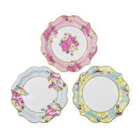 "Delight your guests with these divine designs.  Stunning floral and bird designs on 3 delightfully pretty paper plates.  Lay out your truly scrumptious snacks or treats on these simply elegant paper plates for every occasions.  12 x paper plates in 3 designs.  Diameter 22cm (8.5"")"