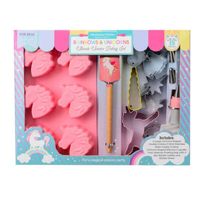 Fantastic, magical adventures await with our best-selling unicorn baking set! Get creative baking sparkling cupcakes, muffins, cookies and much more!  The 15 piece set for real kitchen use includes:  2 unicorn-shaped cookie cutters, 5 mini cookie cutters, unicorn shaped silicone cupcake mold, spatula, frosting bag with 3 tips, sticker sheet and a recipe leaflet.  Recipes include Magical Sugar Cookies, Royal Icing, Fluffy Cloud Cake and Rainbow Frosting. Dimensions:  Spatula 8.75 x 1.75 in. Cupcake Mold 6.25