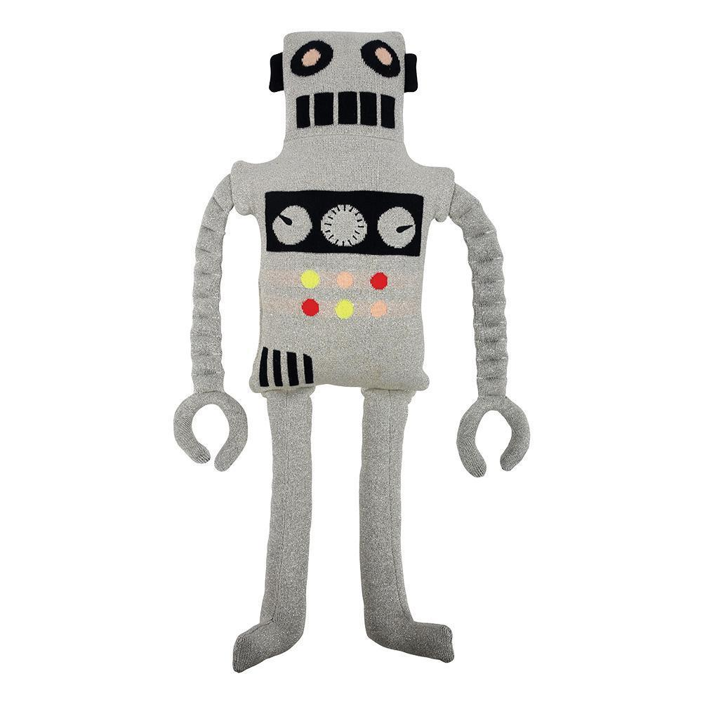 Ziggy, with his wobbly arms and stitched control panel, is the perfect companion for little ones who love robots. Beautifully made from knitted organic cotton.  Suitable for ages 3 and up Knitted organic cotton  Polyester filling  Stitched features  Neon & silver yarn detail Size: 11.41