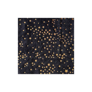 "We're bringing fashion to the party! Zodiac is a design collaboration with famed American fashion designer - Cynthia Rowley. With whimsical stars stamped onto a chic black cocktail napkin, adding style to your everyday celebrations has never been easier!  Colors: black, gold foil Cocktail napkins Made of paper Approx. 5"" folded 20 Napkins / pack"